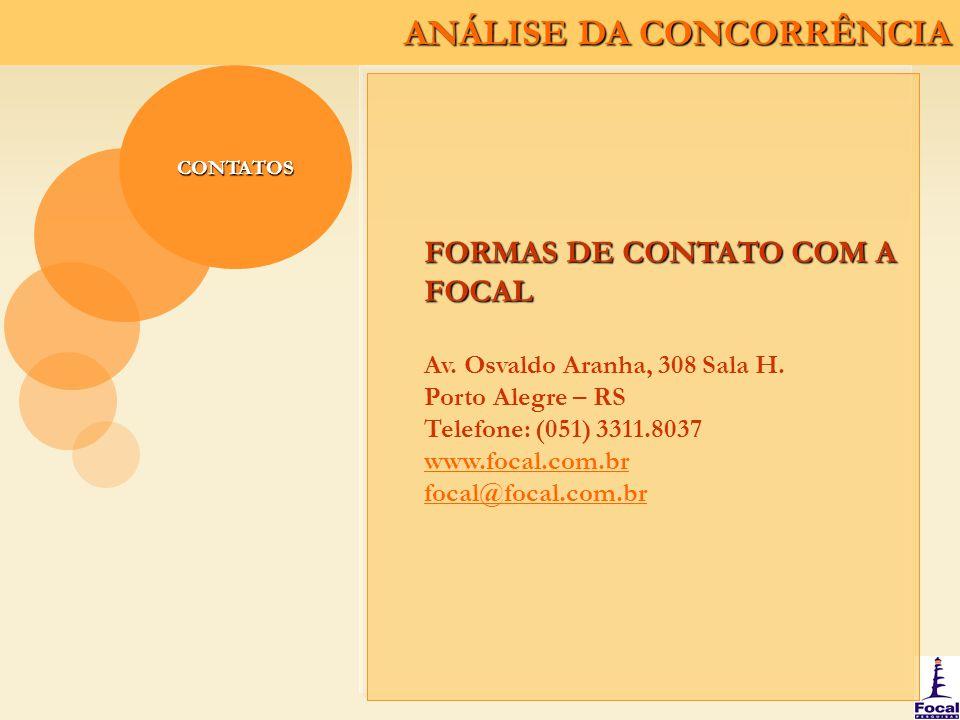 ANÁLISE DA CONCORRÊNCIA CONTATOS FORMAS DE CONTATO COM A FOCAL Av. Osvaldo Aranha, 308 Sala H. Porto Alegre – RS Telefone: (051) 3311.8037 www.focal.c