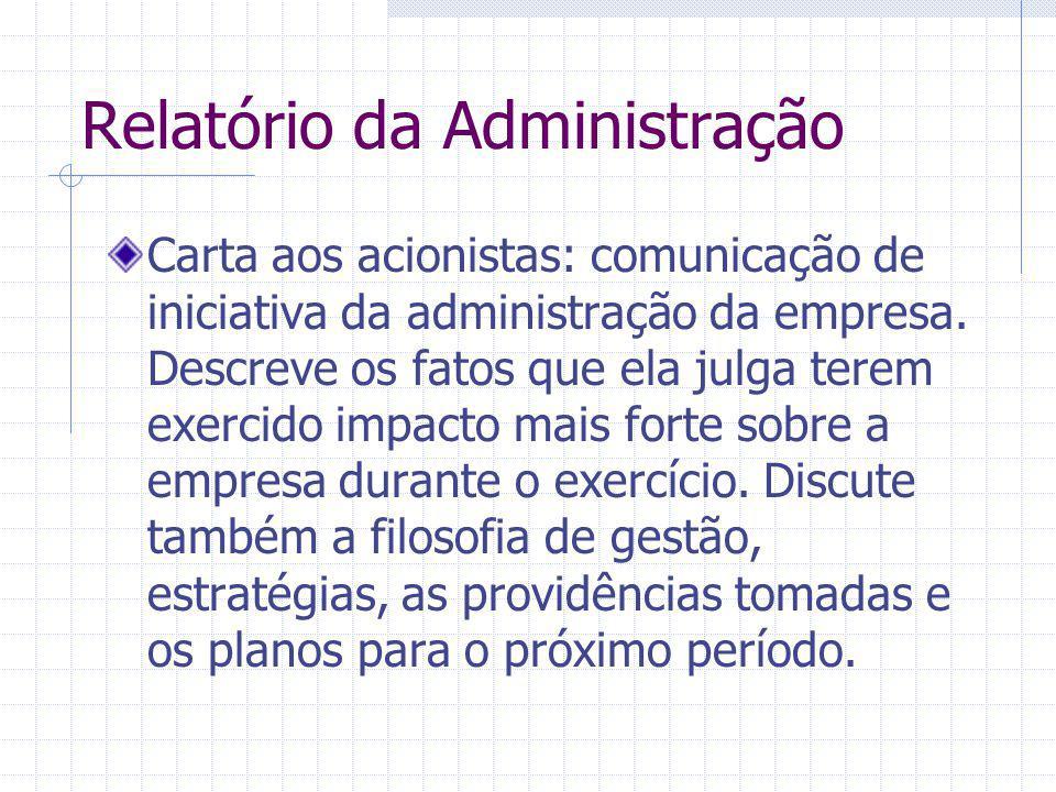 Relatório da Administração Carta aos acionistas: comunicação de iniciativa da administração da empresa. Descreve os fatos que ela julga terem exercido