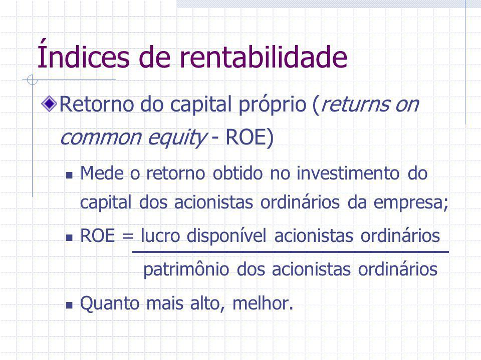 Índices de rentabilidade Retorno do capital próprio (returns on common equity - ROE) Mede o retorno obtido no investimento do capital dos acionistas o