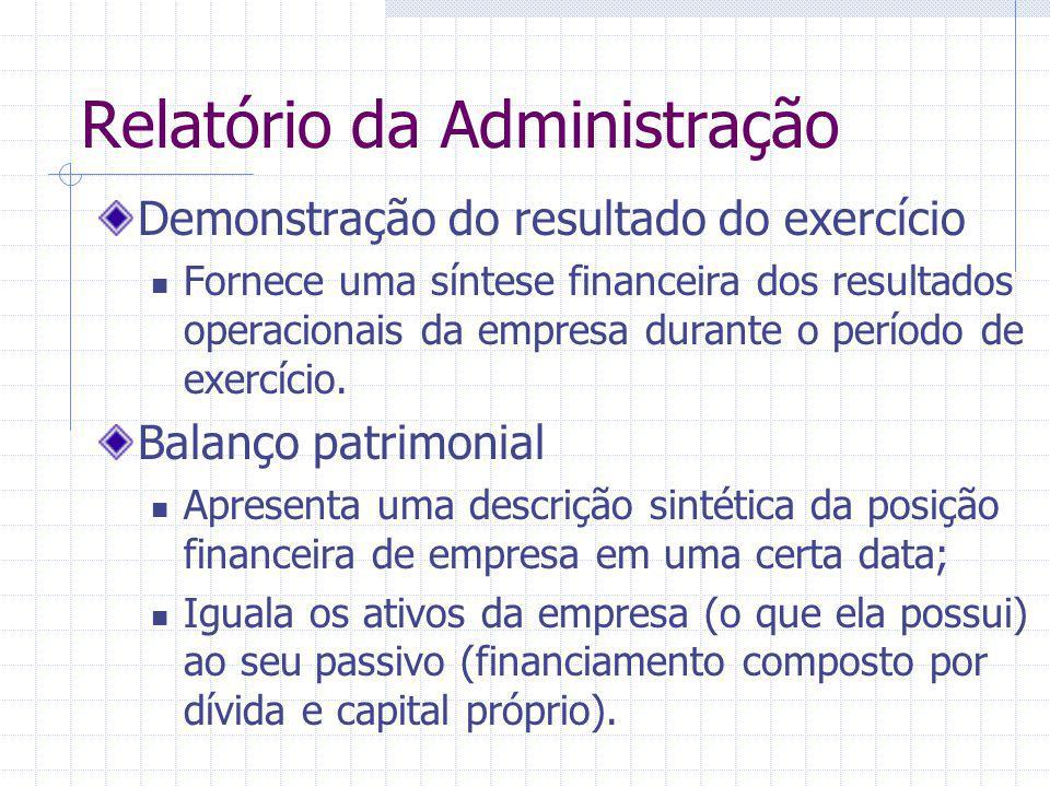 Relatório da Administração Demonstração do resultado do exercício Fornece uma síntese financeira dos resultados operacionais da empresa durante o perí