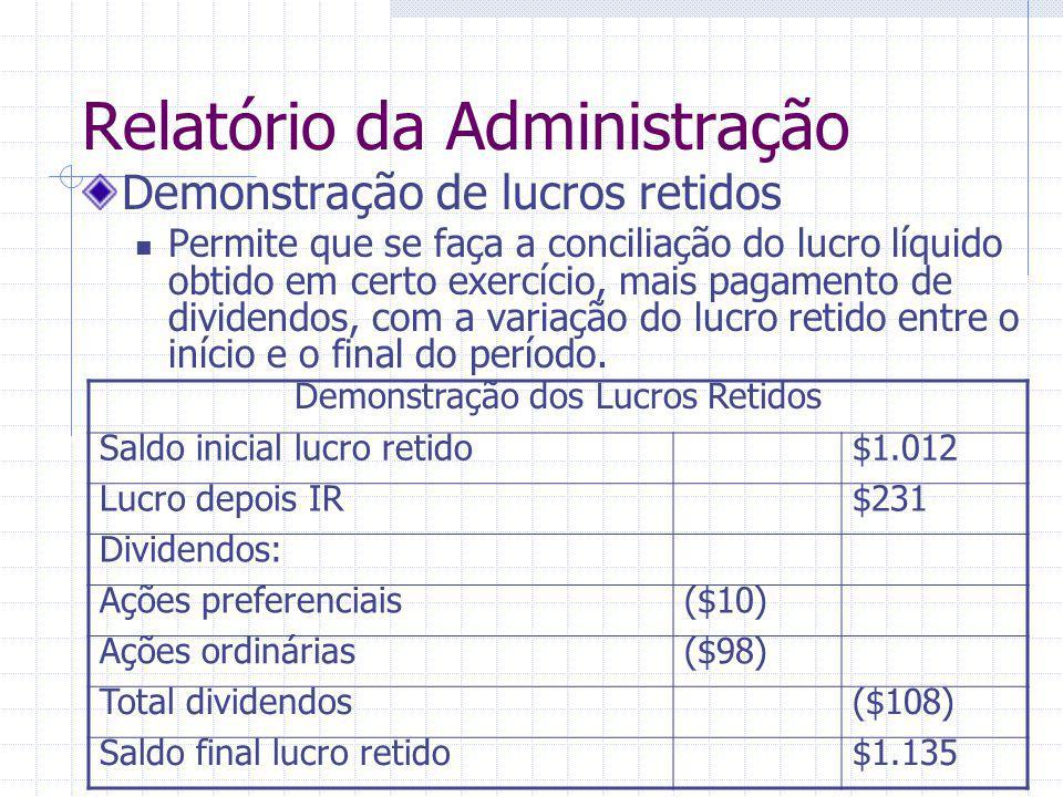 Relatório da Administração Demonstração de lucros retidos Permite que se faça a conciliação do lucro líquido obtido em certo exercício, mais pagamento