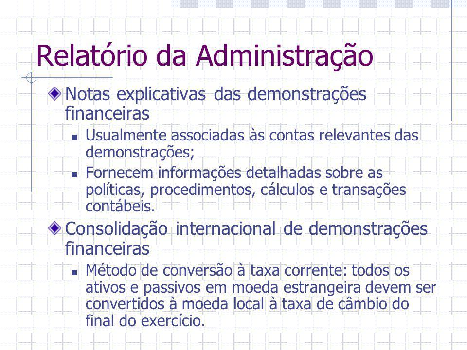 Relatório da Administração Notas explicativas das demonstrações financeiras Usualmente associadas às contas relevantes das demonstrações; Fornecem inf
