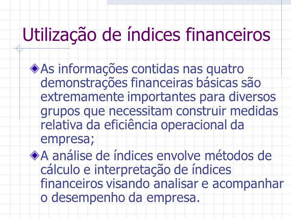 Utilização de índices financeiros As informações contidas nas quatro demonstrações financeiras básicas são extremamente importantes para diversos grup