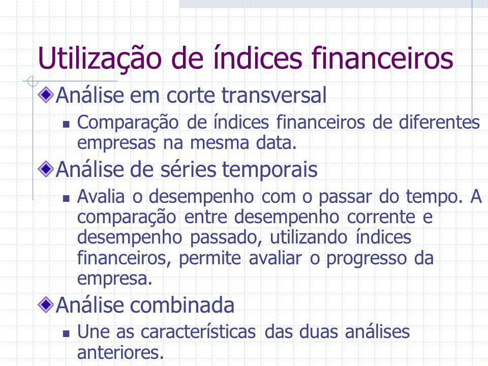 Utilização de índices financeiros Análise em corte transversal Comparação de índices financeiros de diferentes empresas na mesma data. Análise de séri