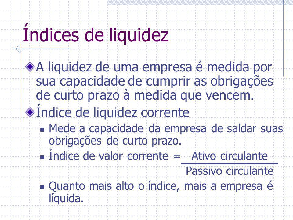 Índices de liquidez A liquidez de uma empresa é medida por sua capacidade de cumprir as obrigações de curto prazo à medida que vencem. Índice de liqui