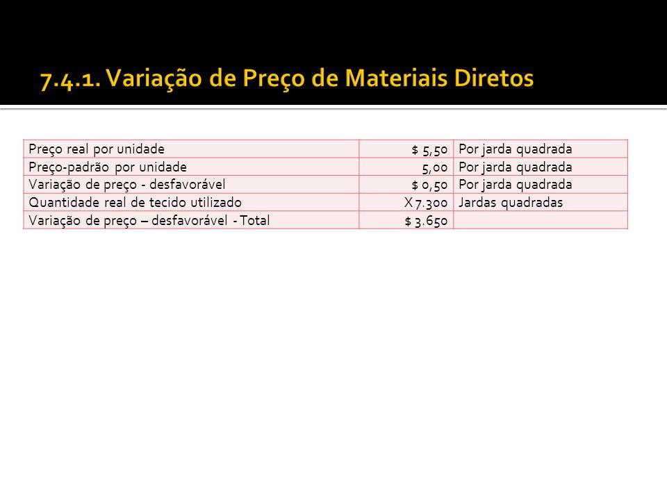 Preço real por unidade $ 5,50Por jarda quadrada Preço-padrão por unidade 5,00Por jarda quadrada Variação de preço - desfavorável$ 0,50Por jarda quadra