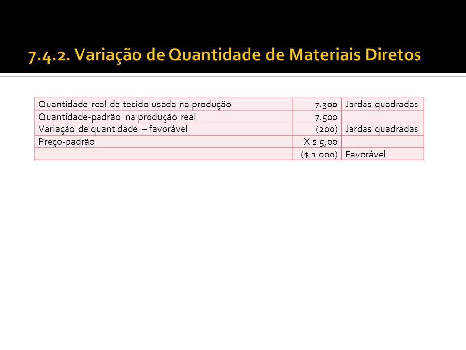 Quantidade real de tecido usada na produção7.300Jardas quadradas Quantidade-padrão na produção real7.500 Variação de quantidade – favorável(200)Jardas