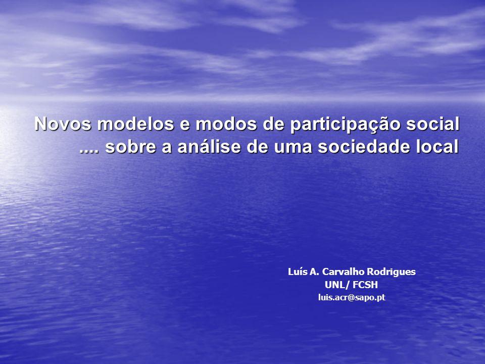 Novos modelos e modos de participação social.... sobre a análise de uma sociedade local Luís A. Carvalho Rodrigues UNL/ FCSH luis.acr@sapo.pt