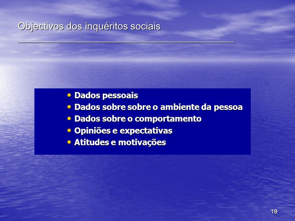 19 Objectivos dos inquéritos sociais ____________________________________________ Dados pessoais Dados pessoais Dados sobre sobre o ambiente da pessoa