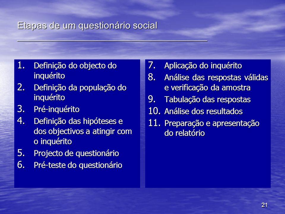 21 Etapas de um questionário social ________________________________________ 1. Definição do objecto do inquérito 2. Definição da população do inquéri