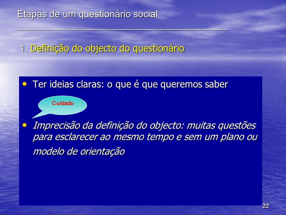 22 Etapas de um questionário social ____________________________________________ 1. Definição do objecto do questionário Ter ideias claras: o que é qu