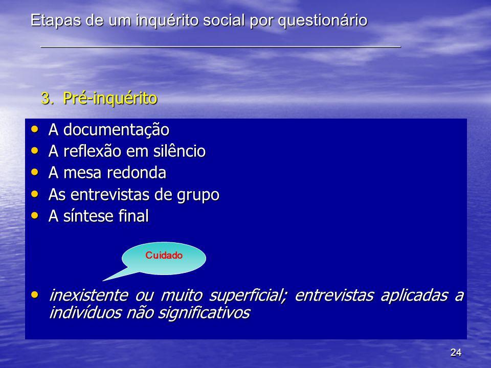 24 Etapas de um inquérito social por questionário ____________________________________________ 3. Pré-inquérito A documentação A documentação A reflex