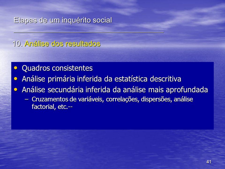41 10. Análise dos resultados Quadros consistentes Quadros consistentes Análise primária inferida da estatística descritiva Análise primária inferida