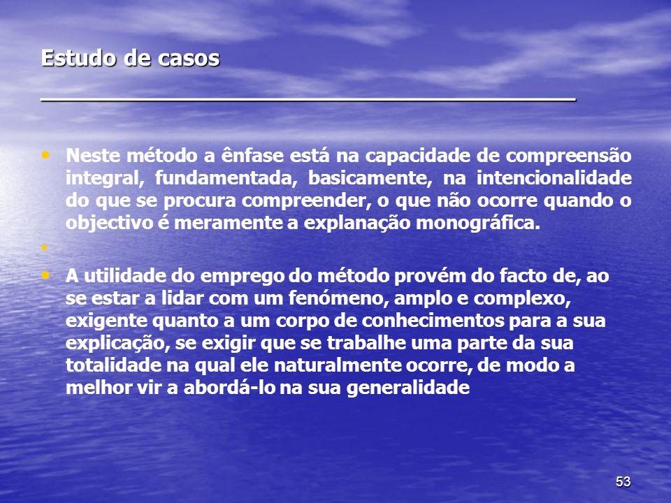 53 Estudo de casos ________________________________ Neste método a ênfase está na capacidade de compreensão integral, fundamentada, basicamente, na in