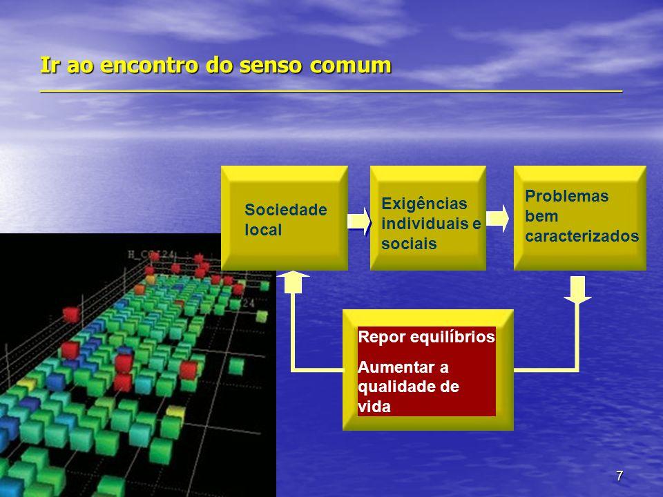 7 Ir ao encontro do senso comum _______________________________________________________________________ Sociedade local Problemas bem caracterizados Repor equilíbrios Aumentar a qualidade de vida Exigências individuais e sociais
