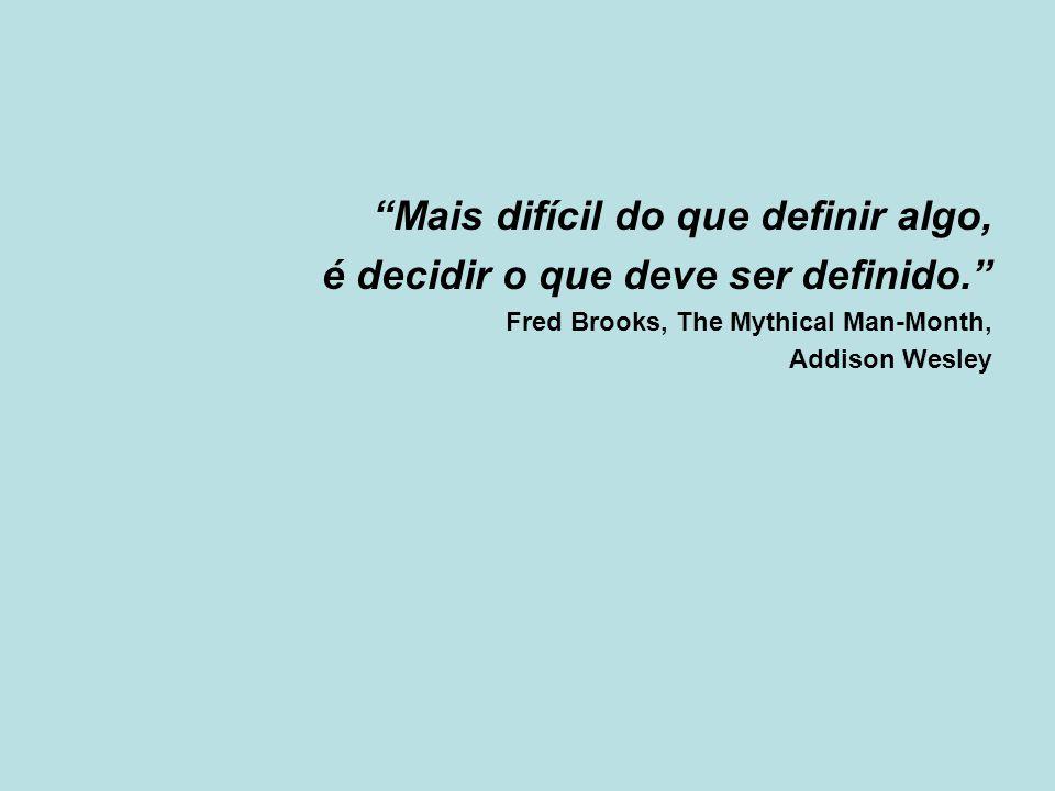 """""""Mais difícil do que definir algo, é decidir o que deve ser definido."""" Fred Brooks, The Mythical Man-Month, Addison Wesley"""