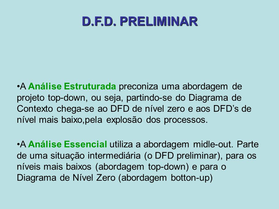 D.F.D. PRELIMINAR A Análise Estruturada preconiza uma abordagem de projeto top-down, ou seja, partindo-se do Diagrama de Contexto chega-se ao DFD de n