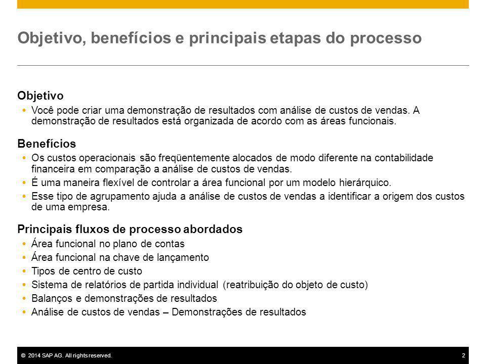 ©2014 SAP AG. All rights reserved.2 Objetivo, benefícios e principais etapas do processo Objetivo  Você pode criar uma demonstração de resultados com