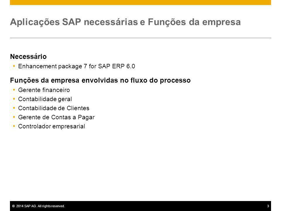 ©2014 SAP AG. All rights reserved.3 Aplicações SAP necessárias e Funções da empresa Necessário  Enhancement package 7 for SAP ERP 6.0 Funções da empr