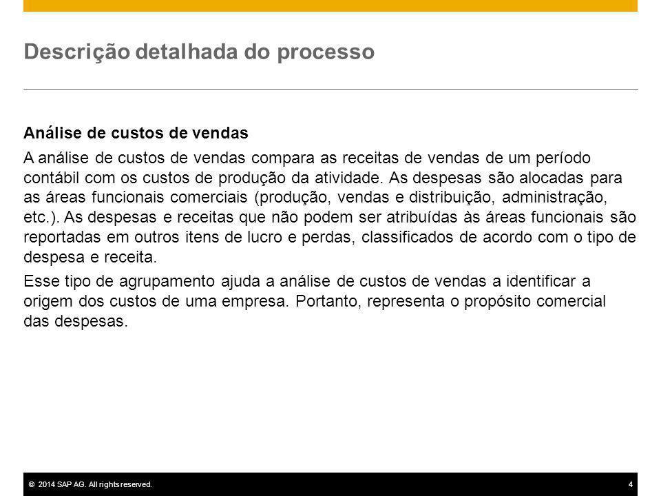 ©2014 SAP AG. All rights reserved.4 Descrição detalhada do processo Análise de custos de vendas A análise de custos de vendas compara as receitas de v