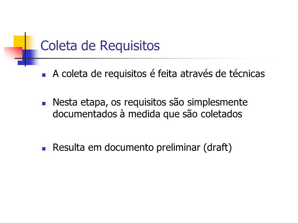 Coleta de Requisitos A coleta de requisitos é feita através de técnicas Nesta etapa, os requisitos são simplesmente documentados à medida que são cole