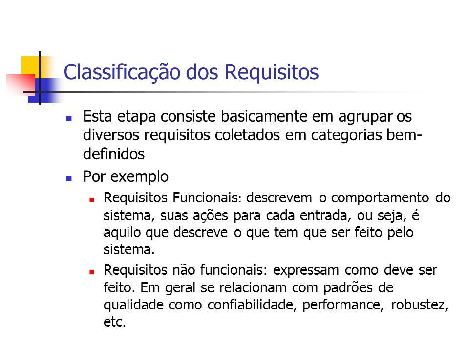 Classificação dos Requisitos Esta etapa consiste basicamente em agrupar os diversos requisitos coletados em categorias bem- definidos Por exemplo Requ