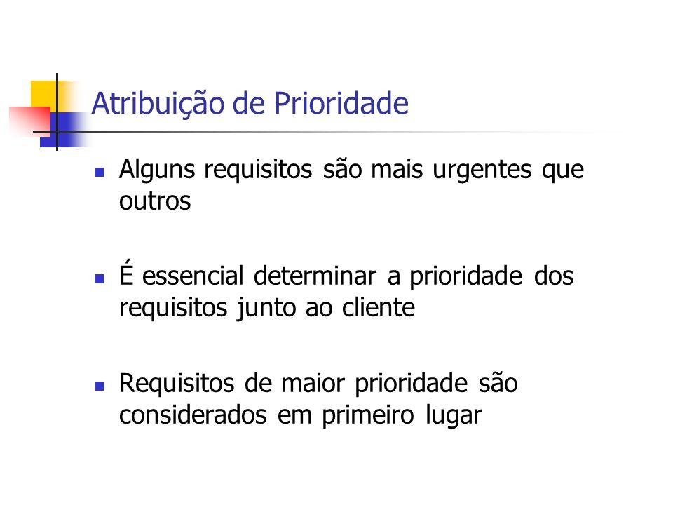 Atribuição de Prioridade Alguns requisitos são mais urgentes que outros É essencial determinar a prioridade dos requisitos junto ao cliente Requisitos