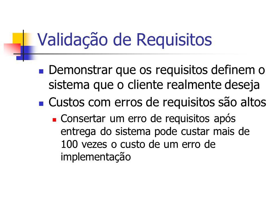 Validação de Requisitos Demonstrar que os requisitos definem o sistema que o cliente realmente deseja Custos com erros de requisitos são altos Consert