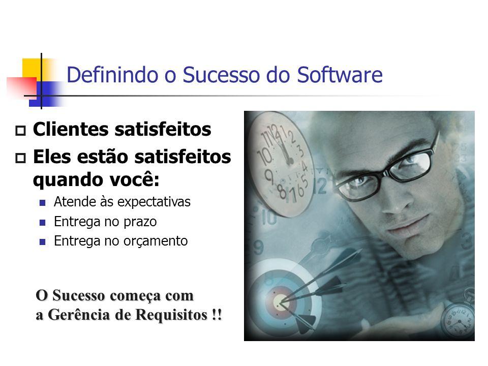 Definindo o Sucesso do Software  Clientes satisfeitos  Eles estão satisfeitos quando você: Atende às expectativas Entrega no prazo Entrega no orçame