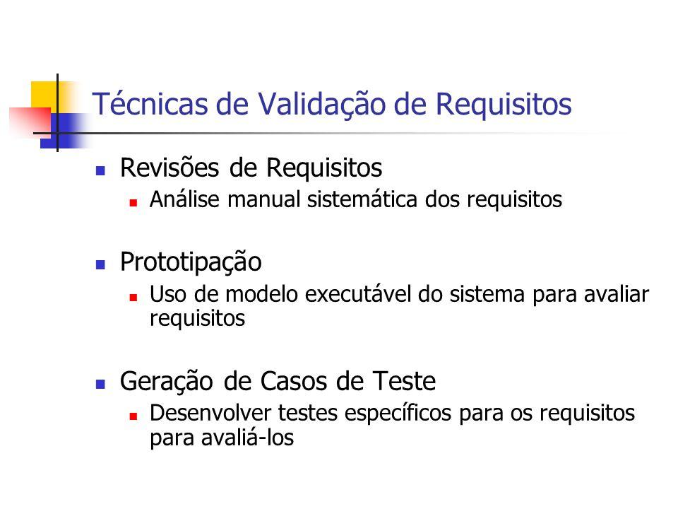 Técnicas de Validação de Requisitos Revisões de Requisitos Análise manual sistemática dos requisitos Prototipação Uso de modelo executável do sistema