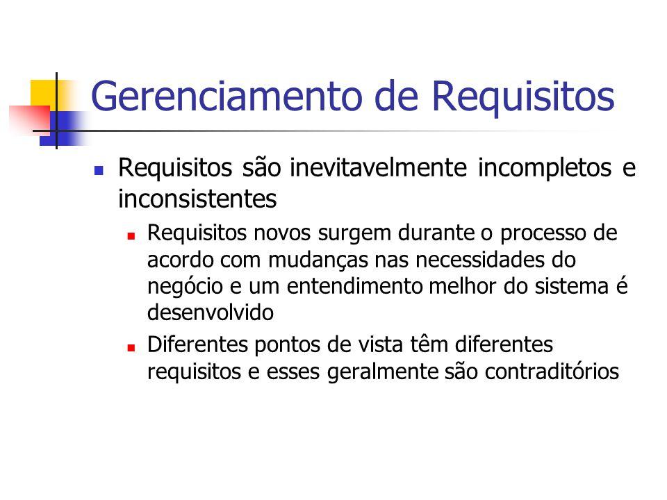 Gerenciamento de Requisitos Requisitos são inevitavelmente incompletos e inconsistentes Requisitos novos surgem durante o processo de acordo com mudan