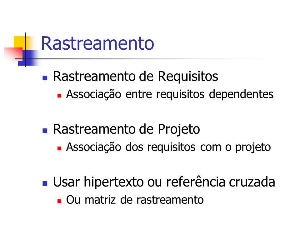 Rastreamento Rastreamento de Requisitos Associação entre requisitos dependentes Rastreamento de Projeto Associação dos requisitos com o projeto Usar h