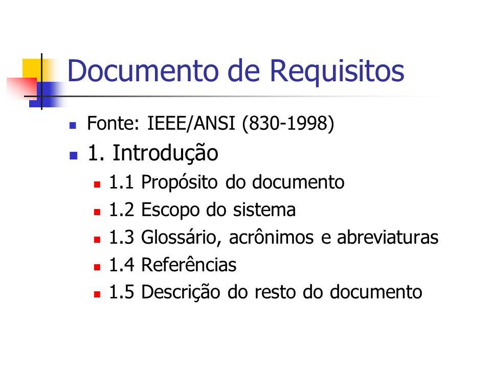 Documento de Requisitos Fonte: IEEE/ANSI (830-1998) 1. Introdução 1.1 Propósito do documento 1.2 Escopo do sistema 1.3 Glossário, acrônimos e abreviat