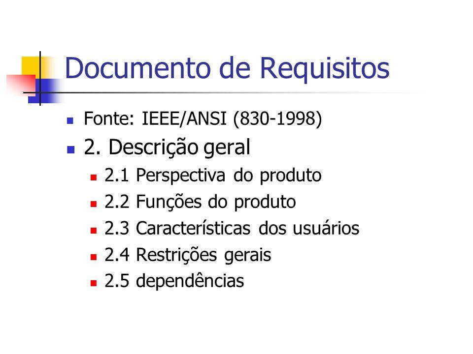 Documento de Requisitos Fonte: IEEE/ANSI (830-1998) 2. Descrição geral 2.1 Perspectiva do produto 2.2 Funções do produto 2.3 Características dos usuár