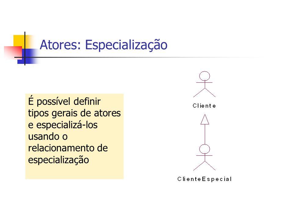 Atores: Especialização É possível definir tipos gerais de atores e especializá-los usando o relacionamento de especialização