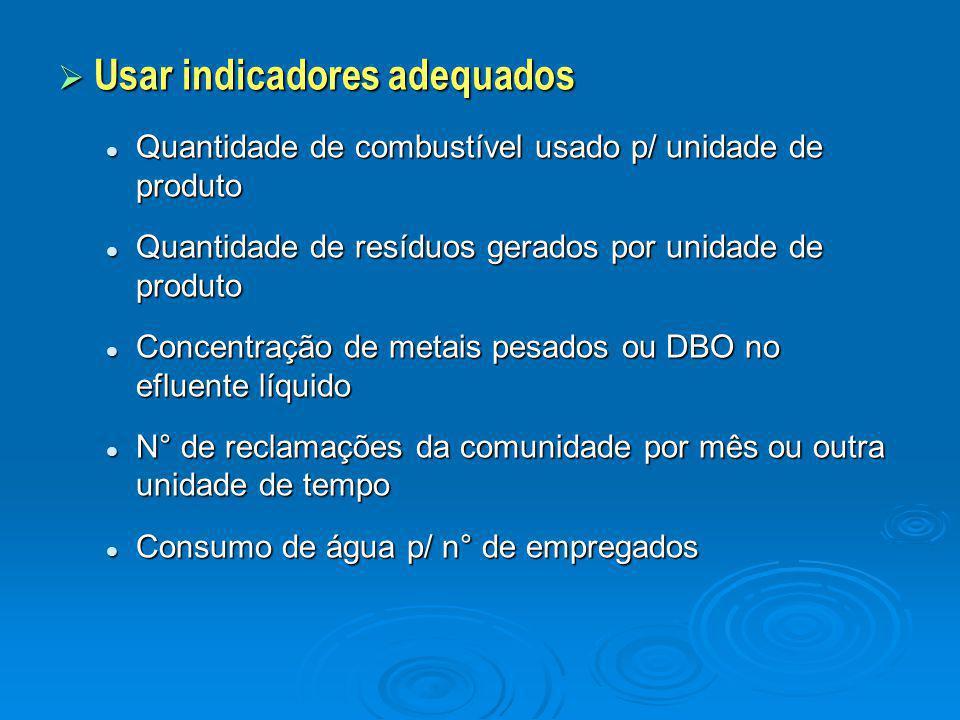  Usar indicadores adequados Quantidade de combustível usado p/ unidade de produto Quantidade de combustível usado p/ unidade de produto Quantidade de