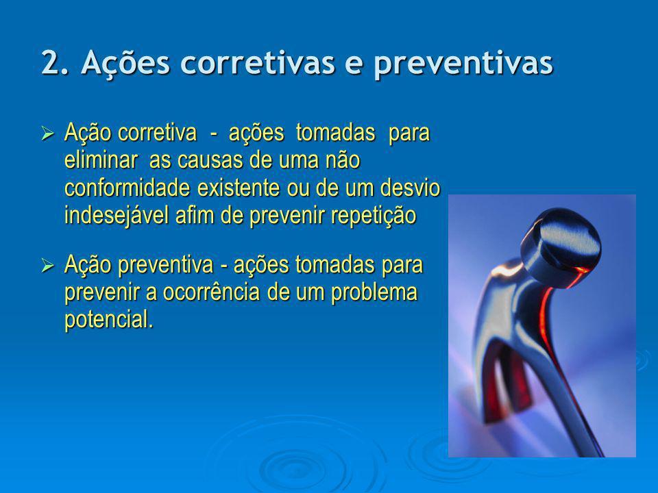 2. Ações corretivas e preventivas AAAAção corretiva - ações tomadas para eliminar as causas de uma não conformidade existente ou de um desvio inde
