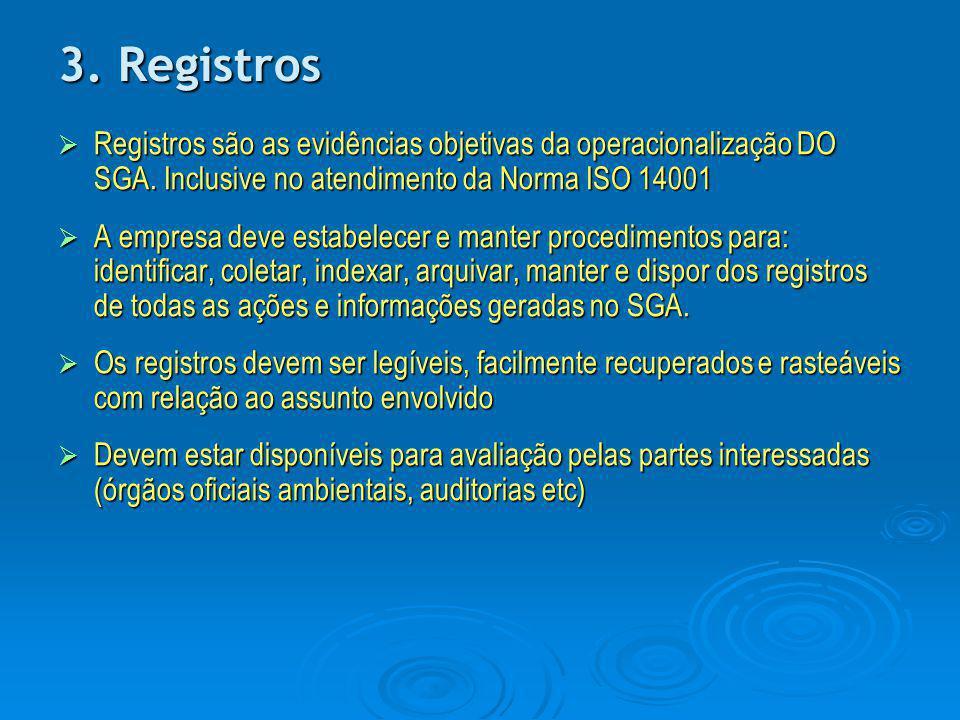 3. Registros  Registros são as evidências objetivas da operacionalização DO SGA. Inclusive no atendimento da Norma ISO 14001  A empresa deve estabel