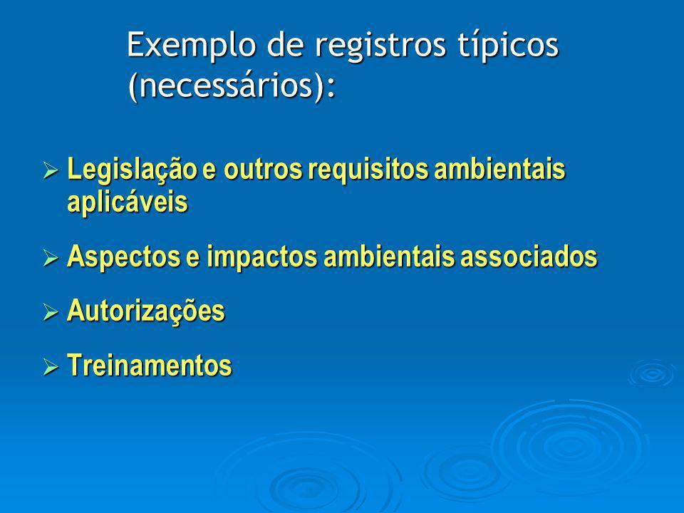 Exemplo de registros típicos (necessários):  Legislação e outros requisitos ambientais aplicáveis  Aspectos e impactos ambientais associados  Autor