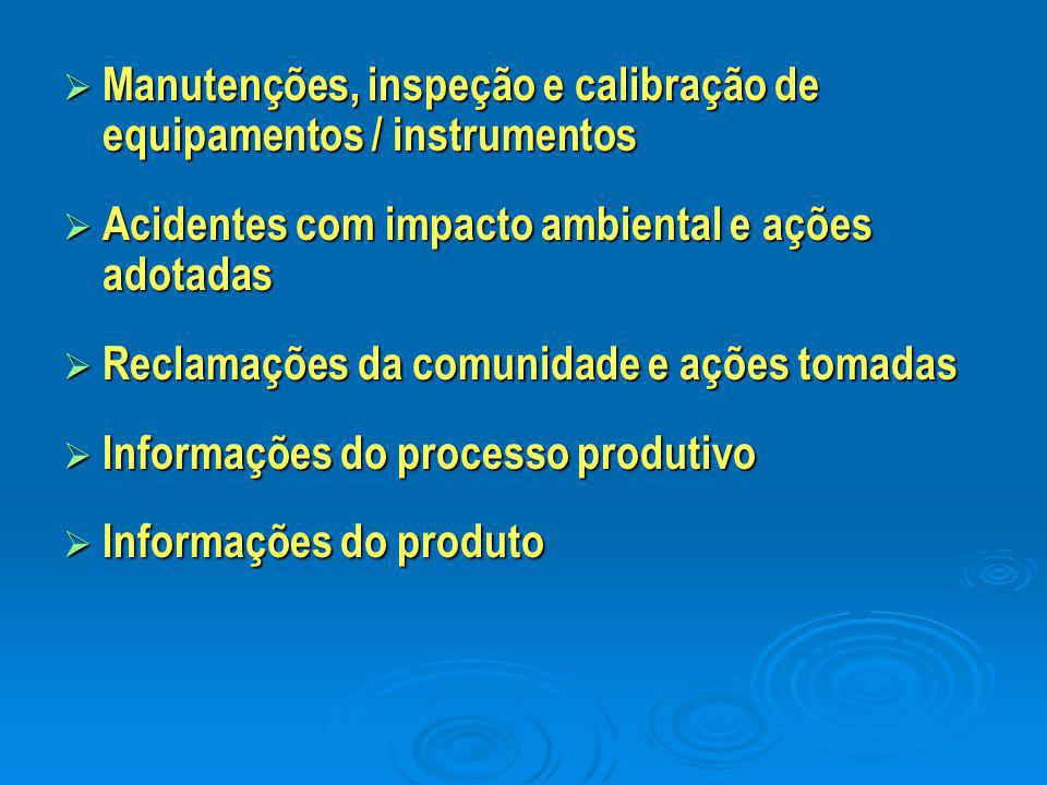  Manutenções, inspeção e calibração de equipamentos / instrumentos  Acidentes com impacto ambiental e ações adotadas  Reclamações da comunidade e a