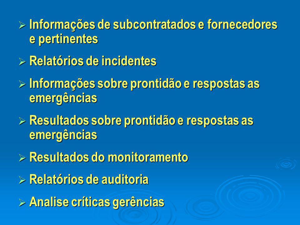  Informações de subcontratados e fornecedores e pertinentes  Relatórios de incidentes  Informações sobre prontidão e respostas as emergências  Res