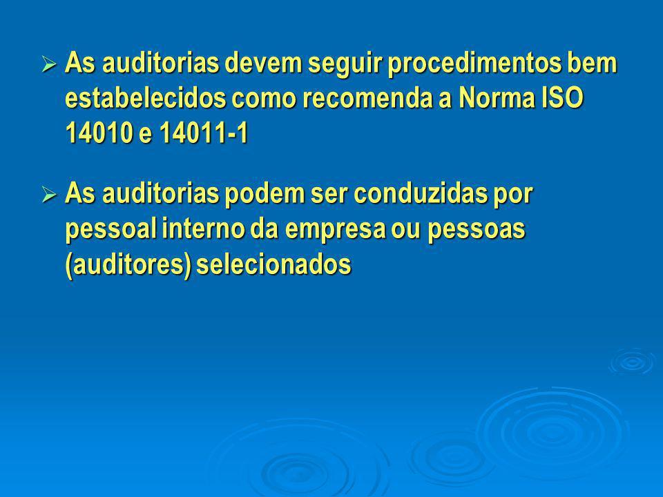  As auditorias devem seguir procedimentos bem estabelecidos como recomenda a Norma ISO 14010 e 14011-1  As auditorias podem ser conduzidas por pesso