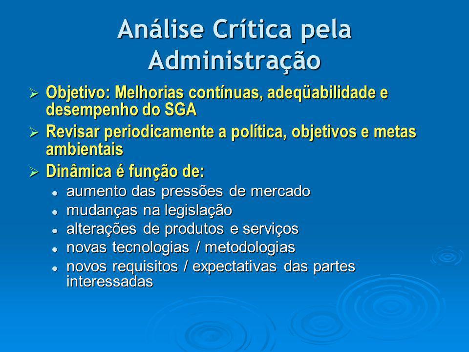 Análise Crítica pela Administração  Objetivo: Melhorias contínuas, adeqüabilidade e desempenho do SGA  Revisar periodicamente a política, objetivos