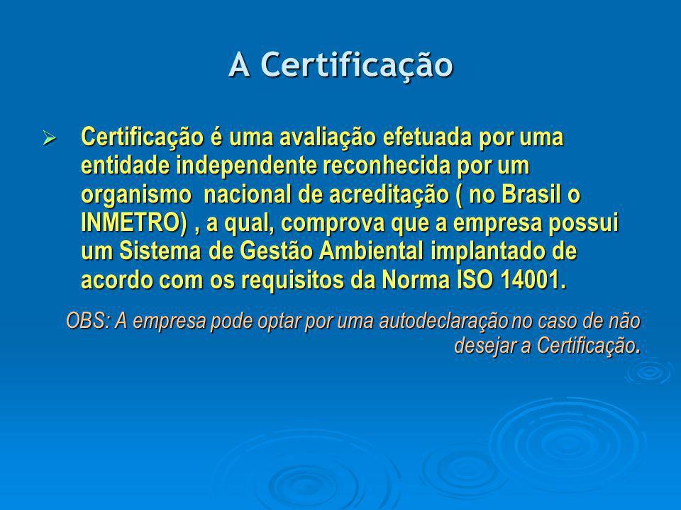 A Certificação  Certificação é uma avaliação efetuada por uma entidade independente reconhecida por um organismo nacional de acreditação ( no Brasil