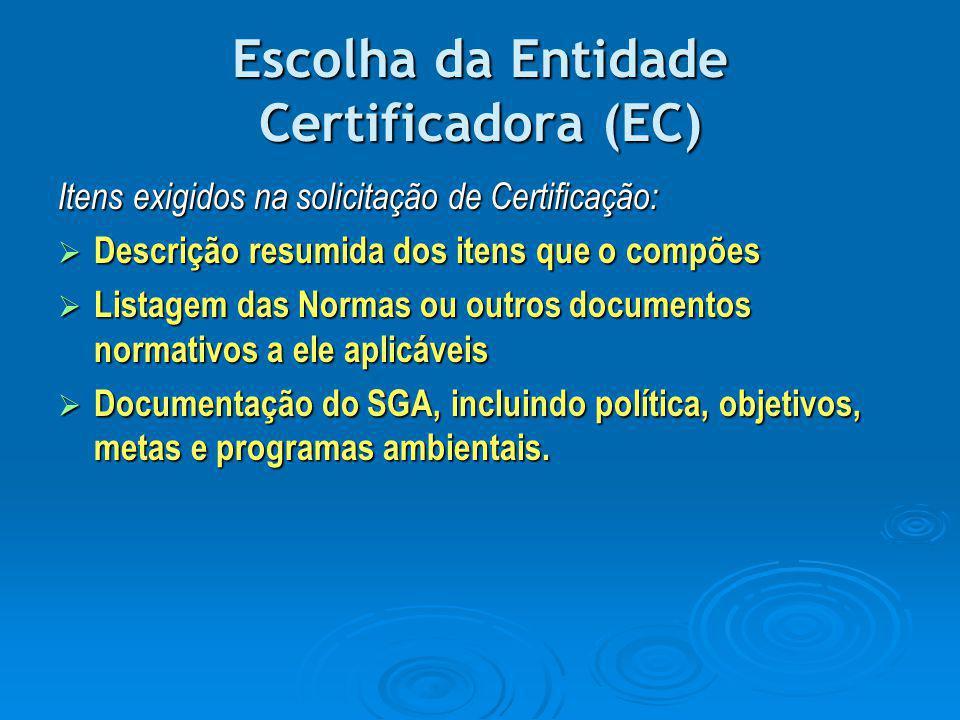 Escolha da Entidade Certificadora (EC) Itens exigidos na solicitação de Certificação:  Descrição resumida dos itens que o compões  Listagem das Norm