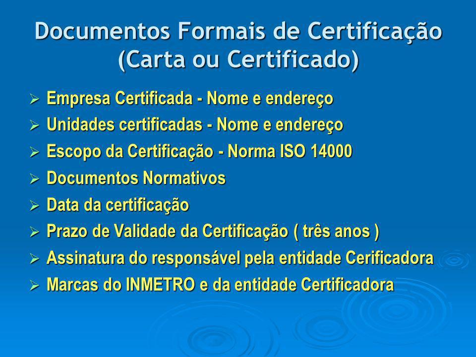 Documentos Formais de Certificação (Carta ou Certificado)  Empresa Certificada - Nome e endereço  Unidades certificadas - Nome e endereço  Escopo d