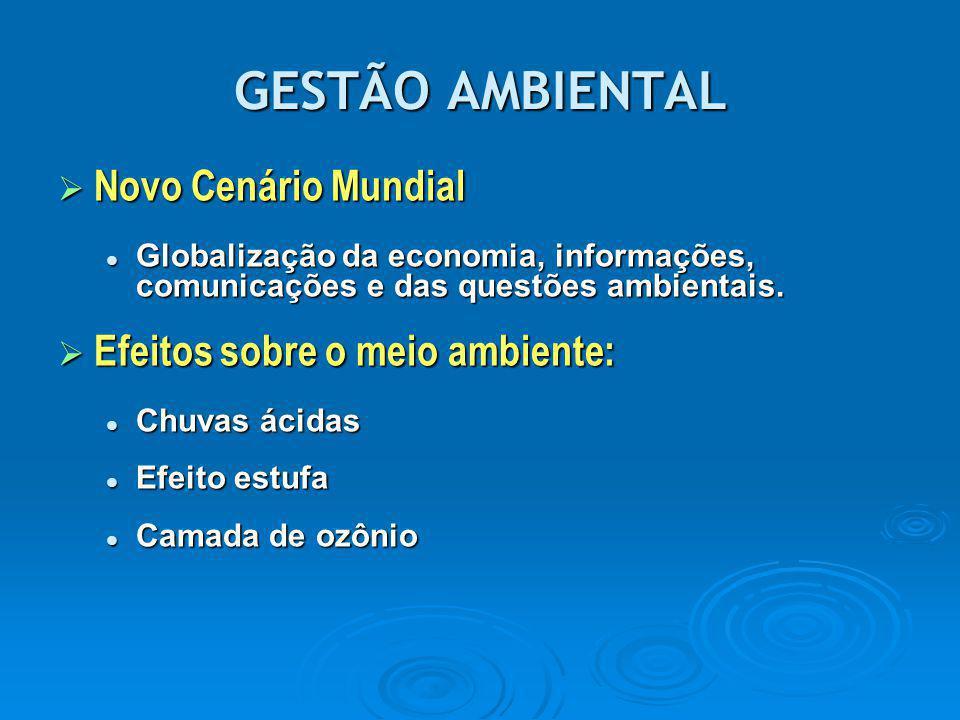 GESTÃO AMBIENTAL  Novo Cenário Mundial Globalização da economia, informações, comunicações e das questões ambientais. Globalização da economia, infor