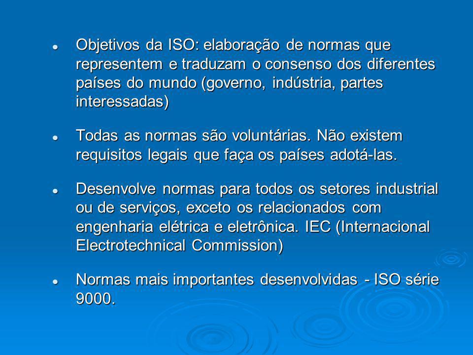Objetivos da ISO: elaboração de normas que representem e traduzam o consenso dos diferentes países do mundo (governo, indústria, partes interessadas)