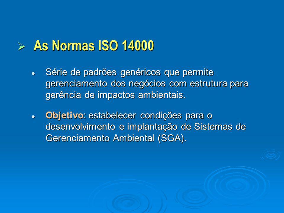 AAAAs Normas ISO 14000 Série de padrões genéricos que permite gerenciamento dos negócios com estrutura para gerência de impactos ambientais. Objet