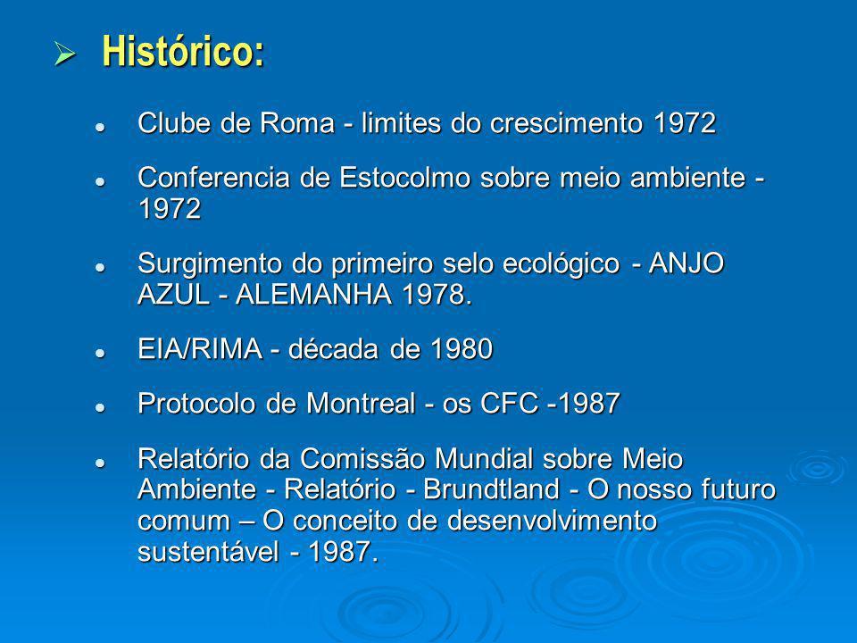  Histórico: Clube de Roma - limites do crescimento 1972 Clube de Roma - limites do crescimento 1972 Conferencia de Estocolmo sobre meio ambiente - 19
